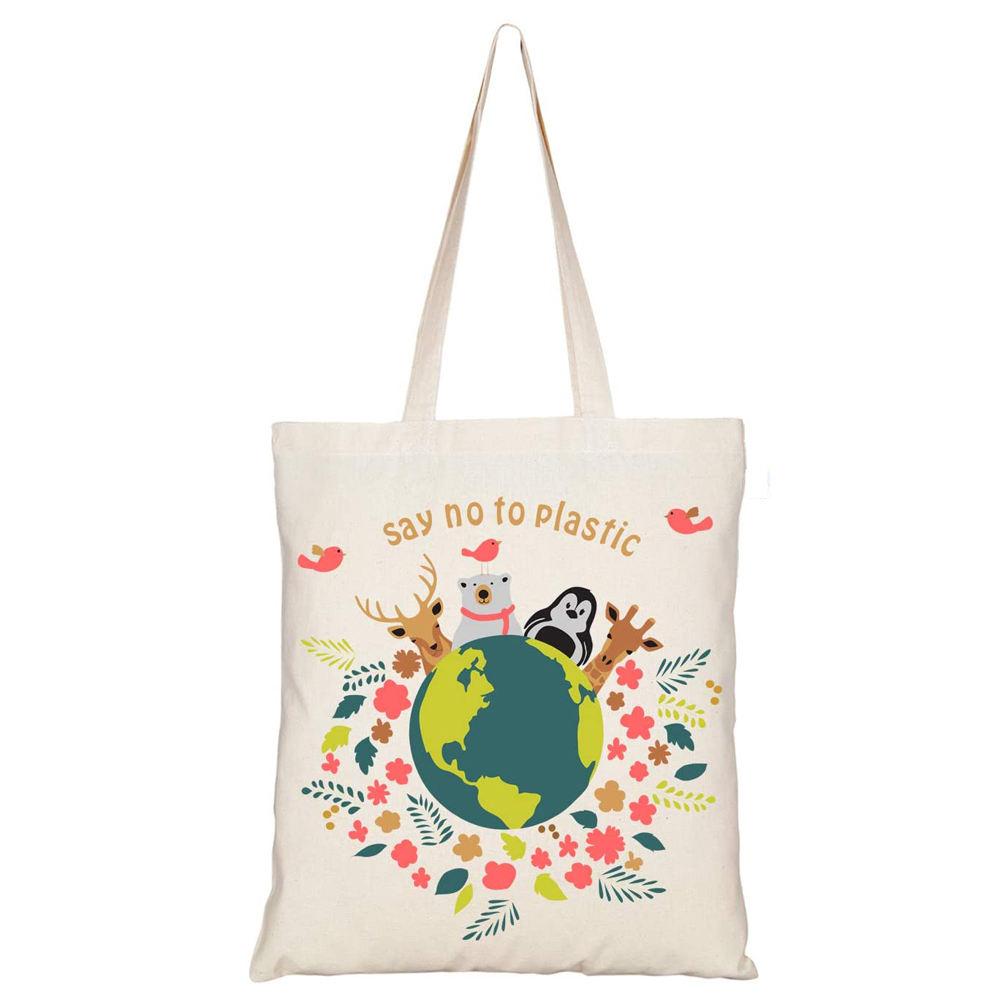TUOSLAND Wholesale Reusable Durable Customized Canvas Cotton Eco Friendly Bags for Shopping School Work Gym Travel Beach
