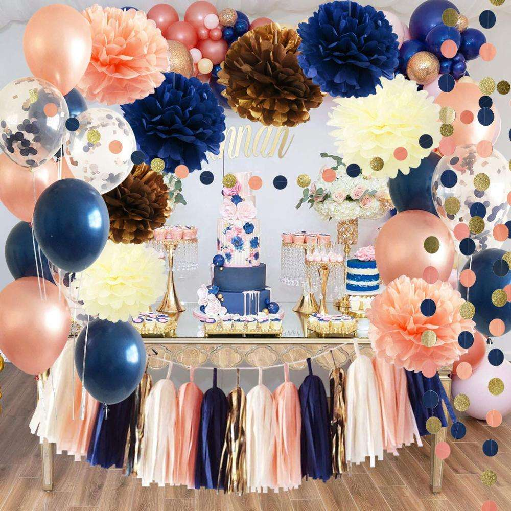 Bridal Shower Decorations Navy Rose Gold Balloons Wedding Decorations/Navy Peach Bachelorette Party Decoration Baby Shower Deco