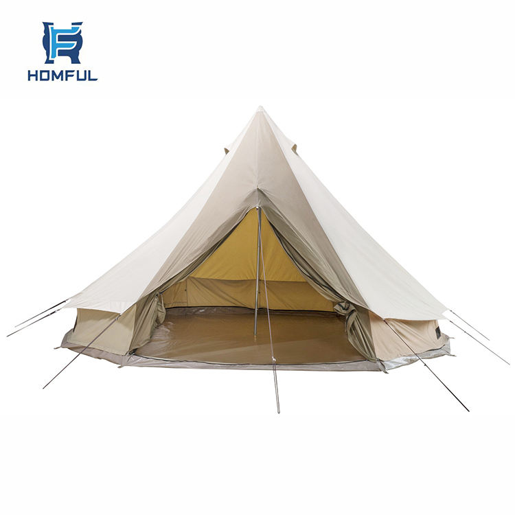HOMFUL Outdoor Waterproof Glamping Tents Family Camping Yurt Tent Canvas Bell Tent
