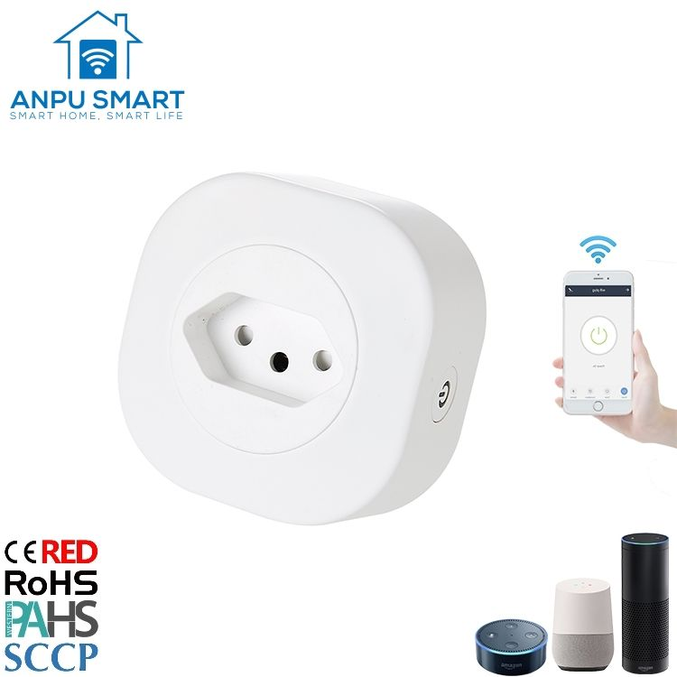 ANPU New Design Amazon Alexa BR Brazil MIni Smart Wifi Power Electrical Plug Tuya Smart Wireless Remote Control WIFI Socket Plug