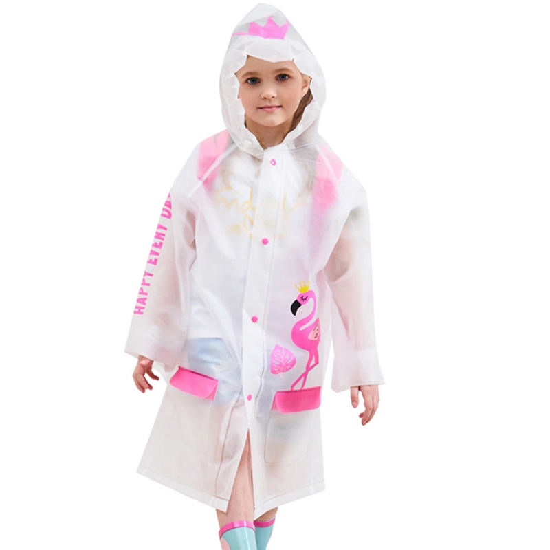 High Quality Cartoon Style Cute Kids Boys Girls Rainsuit Thickened EVA Children's Raincoat With Schoolbag Space