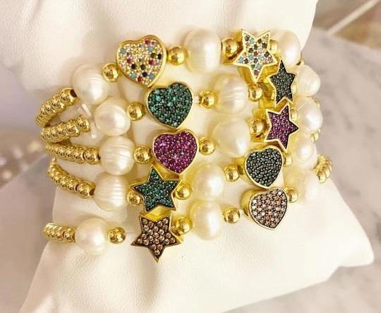 2020 Nieuwste Hot Selling Parel Armband Vijf Star Shaped Rhinestone Koperen Kraal Armband