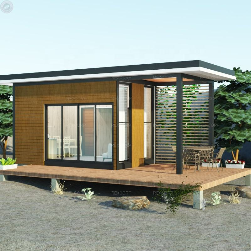 Loft Bed Style Small Wooden Modular Chalet with Roof Prefab Chalet Hut for Holidays in Switzerland
