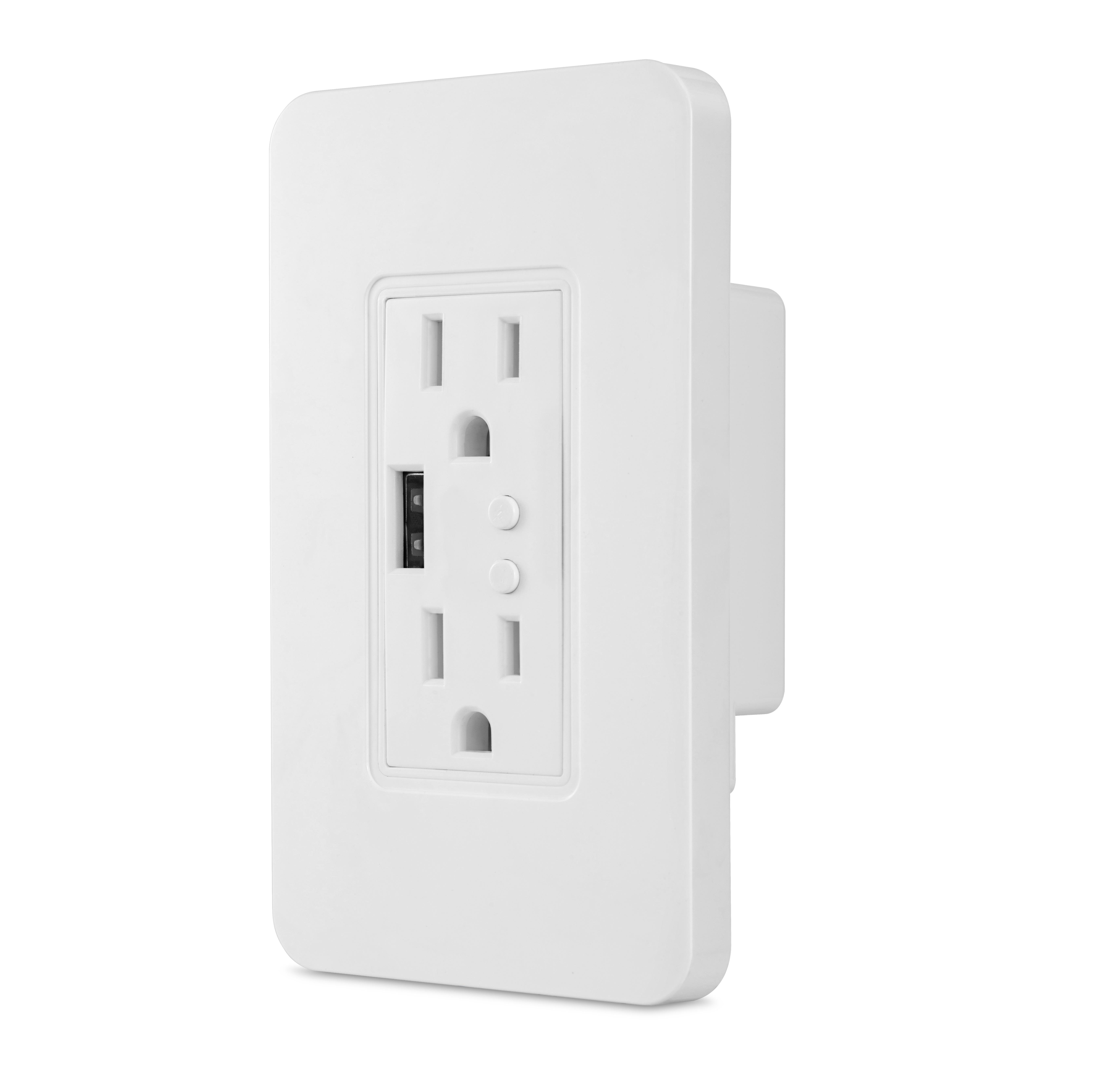USB Smart Wall Socket 2 Plug Outlet US Type Work with Alexa Google Home, No Hub Required By Smart Life/Tuya APP Remote Control