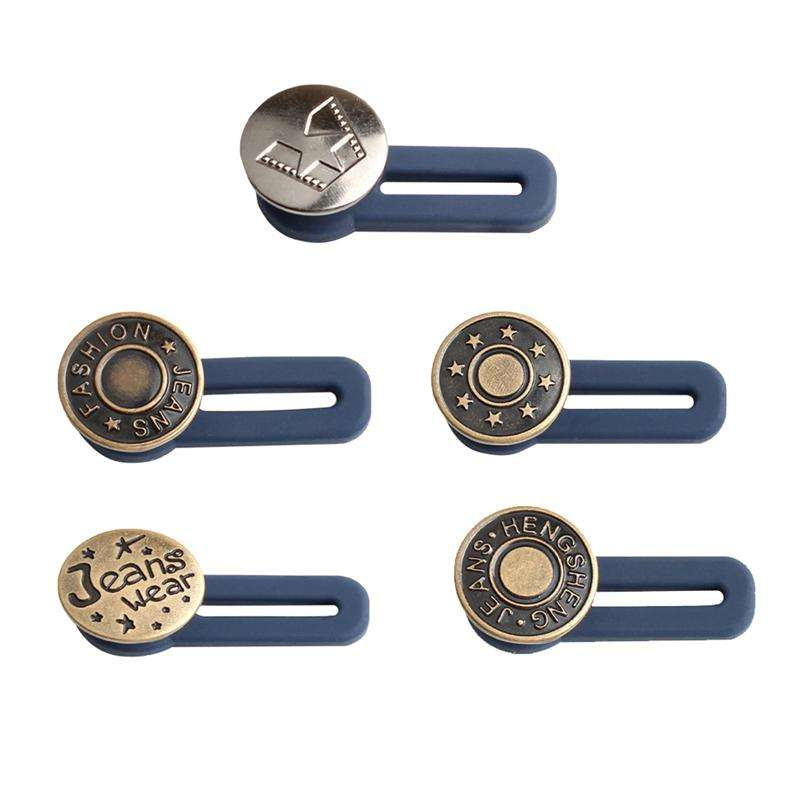 Free Sewing Buttons Adjustable Disassembly Retractable Jeans Waist Button Metal Extended Buckles Pant Waistband Expander