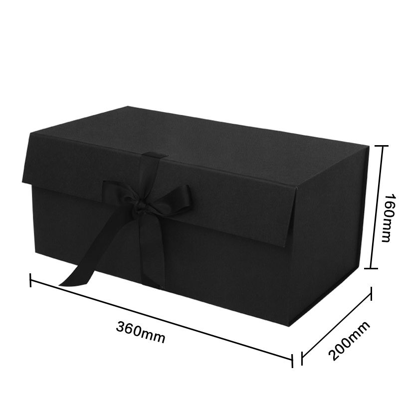 Black Packing Gift Box Customized Simple Folding Gift Box with Ribbon Universal Flip