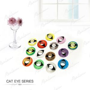 Realcon Crazy Coloured contact lenses white cat eyes funny VIPER Carneval/Halloween