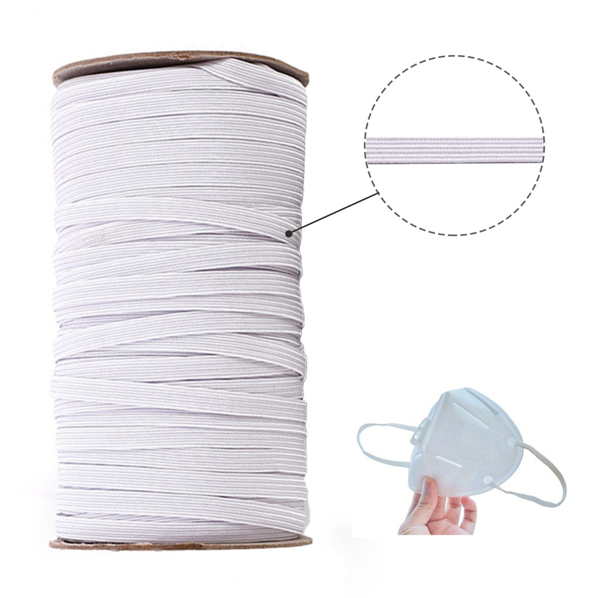 Midi Stock High Elasticity Braided Elastic Cord Band For Mask Band Rope Sewing Crafts