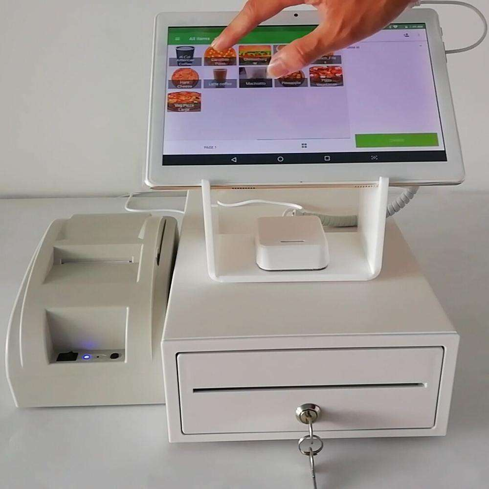 Restaurant Ordering Tablet Cash Register Secure Stand With 58mm Receipt Printer,White Cash Drawer
