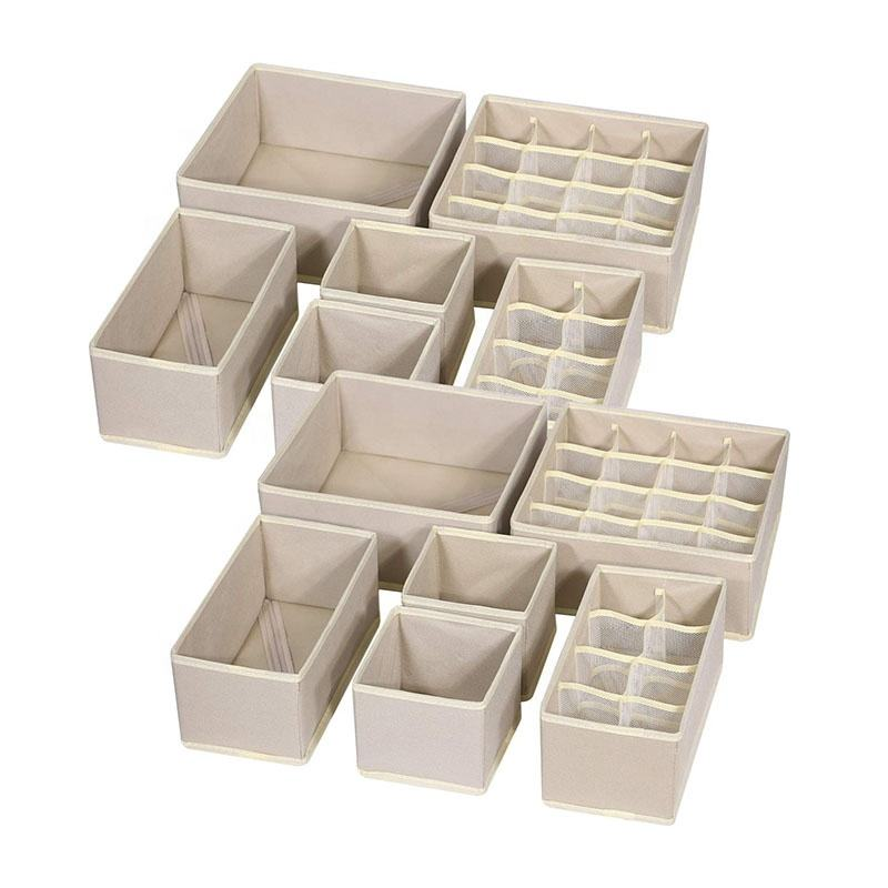 Drawer Organizer 12 Pack Foldable Drawer Organizer Dividers Cloth Storage Box Closet Dresser Organizer Cube Fabric Containers Basket Bins
