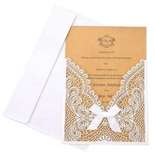 Luxury laser cut pocketfold invitation card wedding