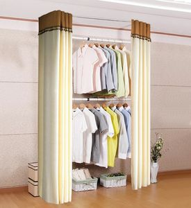 Adjustable Wholesale Carbon Steel Portable Closet Bedroom Wardrobe With Curtain