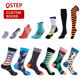 Wholesale custom no minimum order sublimated printing mens socks with logo