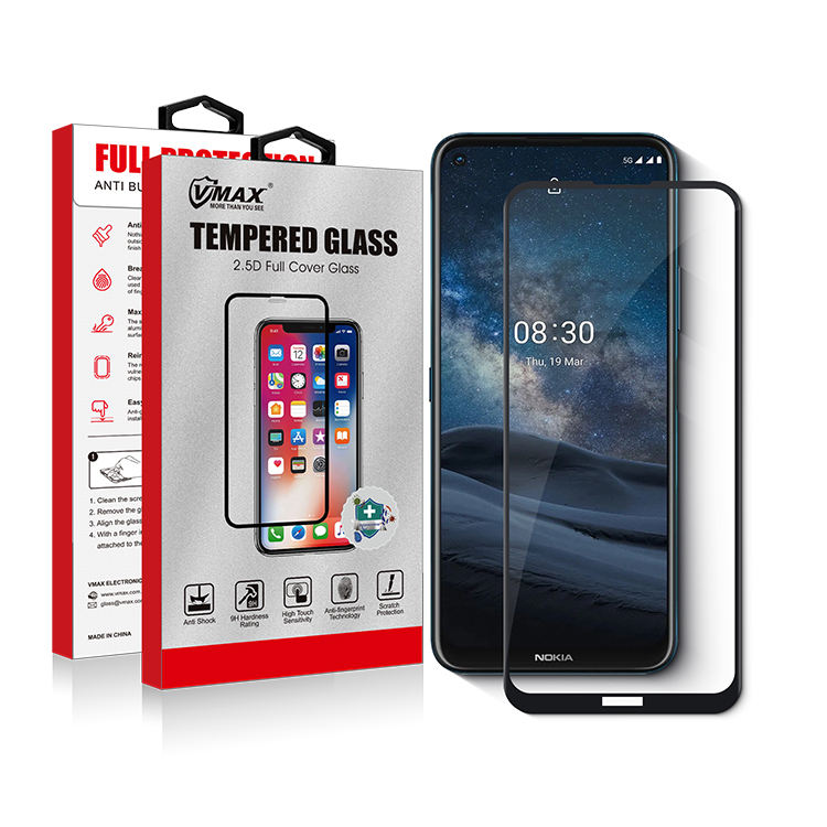 2.5D wholesale silkprint full cover tempered glass smart phone screen protector for Nokia 8.3 5G