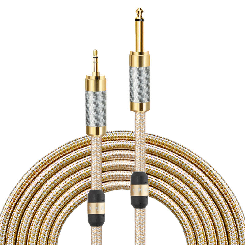 "Hifi Audio Cable 1/8"" Mini Jack 3.5 mm to MONO 6.35 mm 1/4"" TS Jack Mixing Console PC Headphone Cable Shielded 1M2M3M5M8M"
