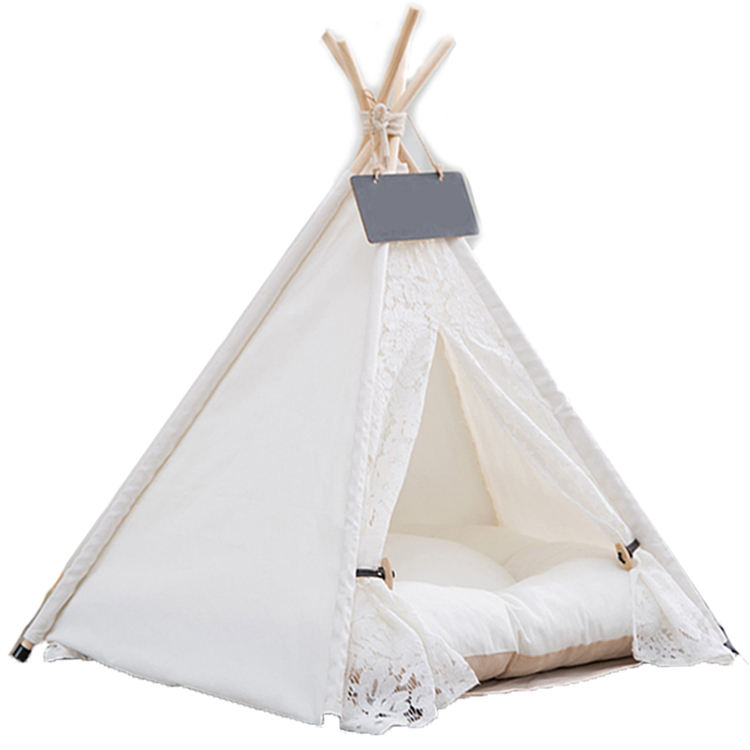 Portable Washable Lace Style Dog & Cat Bed Sweet House Pet Teepee Tent With Removable Cushion