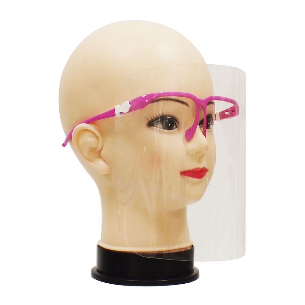 Disposable clear plastic fashion face shield with glasses frame faceshield protection anti fog