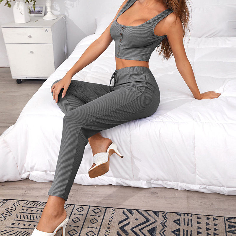 MS Custom label ladies short top and long pants 2pc women pajamas lounge wear night set sexy nighty for honeymoon