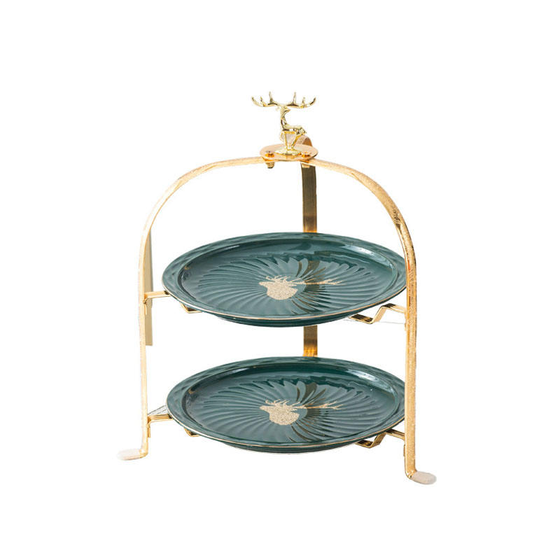 Entry lux gilt-edged 2 tier wedding christmas party cake stand emerald fruits dessert cupcake display stand