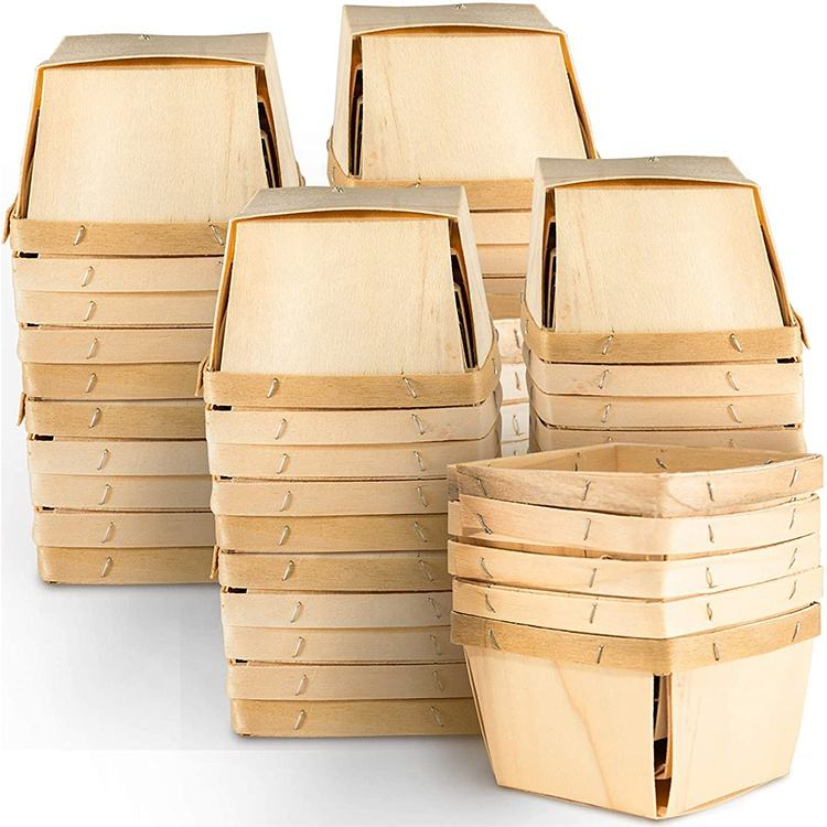 high quality 4 x 4 inch pint veneer fruits baskets small wood box party decors