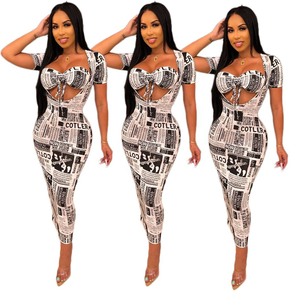 New design women clothes hot sale newspaper printing dresses sexy tight package hip skirt