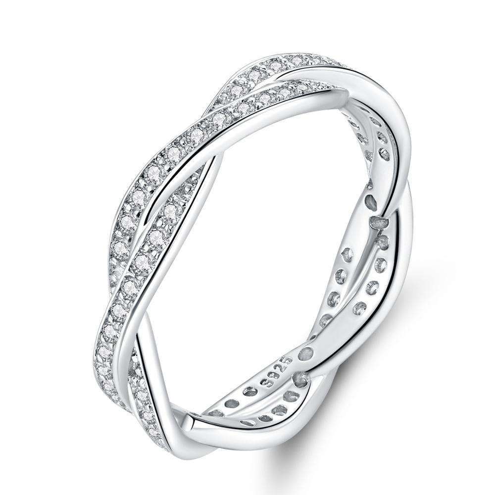 Fine jewelry Corrugated platinum white zircon rings