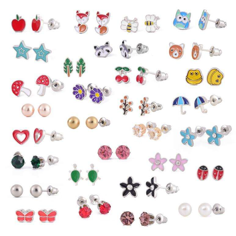 30 pairs/set stainless steel cute animal earrings fox frog mushroom stud earrings setting
