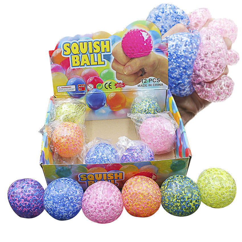 Superstar 7CM Foam Beads Squeeze Stress Ball Squishy Soft Bright Color Beads Grape Ball TPR Capsule Toy 619050905