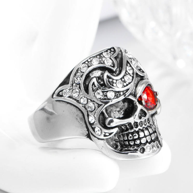 punk skull ring jewelry black men's silver diamond wedding ring