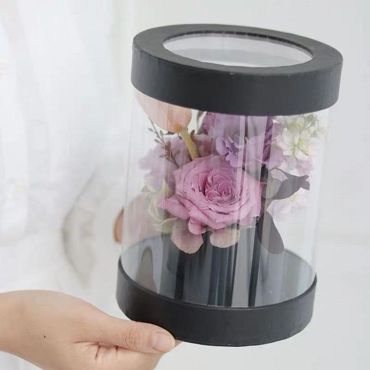ZL Black Pink Luxury Round Plastic PVC Clear Cylinder Hat Box Cholyn Roses Packaging Soap Flower Gift Box