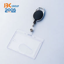 black keychain retractable metal badge reel and square waterproof id card holder combo