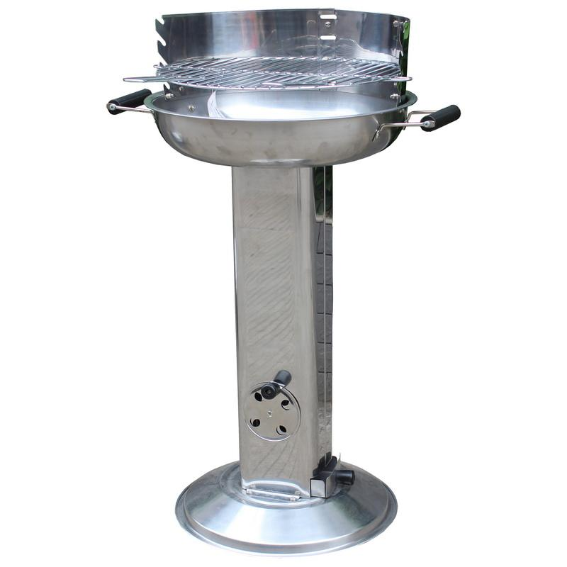 Outdoor Garden Patio Cooker Pedestal Grill Stainless Steel Barbeque Easy Clean Bbq Pillar Charcoal Barbecue Grill