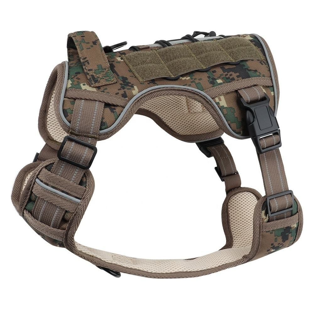 Custom Logo Adjustable Pet Harness Training Military Dog Reflective Vest Tactical Dog Harness