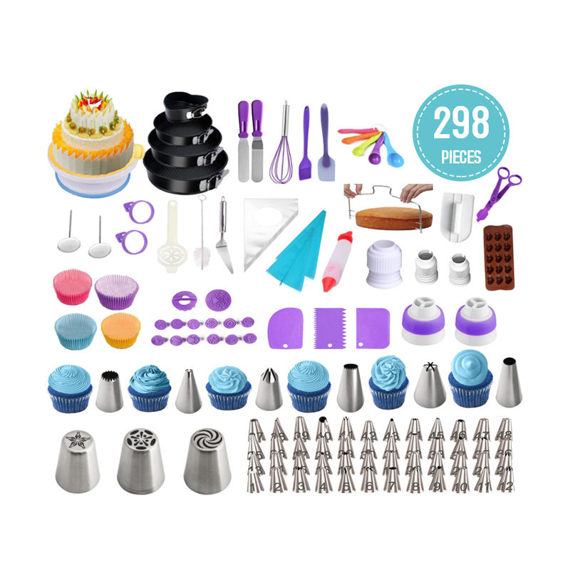 298 PCS Baking Kit Include Cake Rotating Turntable, Piping Icing Tips, Russian Nozzles, Fondant Tools