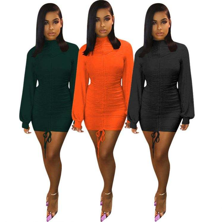 M9046 Women casual long sleeve mini dress lady sexy solid color dresses