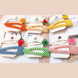 Cute candy color BB clip fruit word clip combination girl wild hair clip
