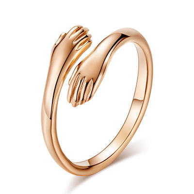Fashion Sliver Rose Gold Stainless Steel Creative Couples Engagement Opening Ring for Women Simple Embrace Party Jewelry Gifts