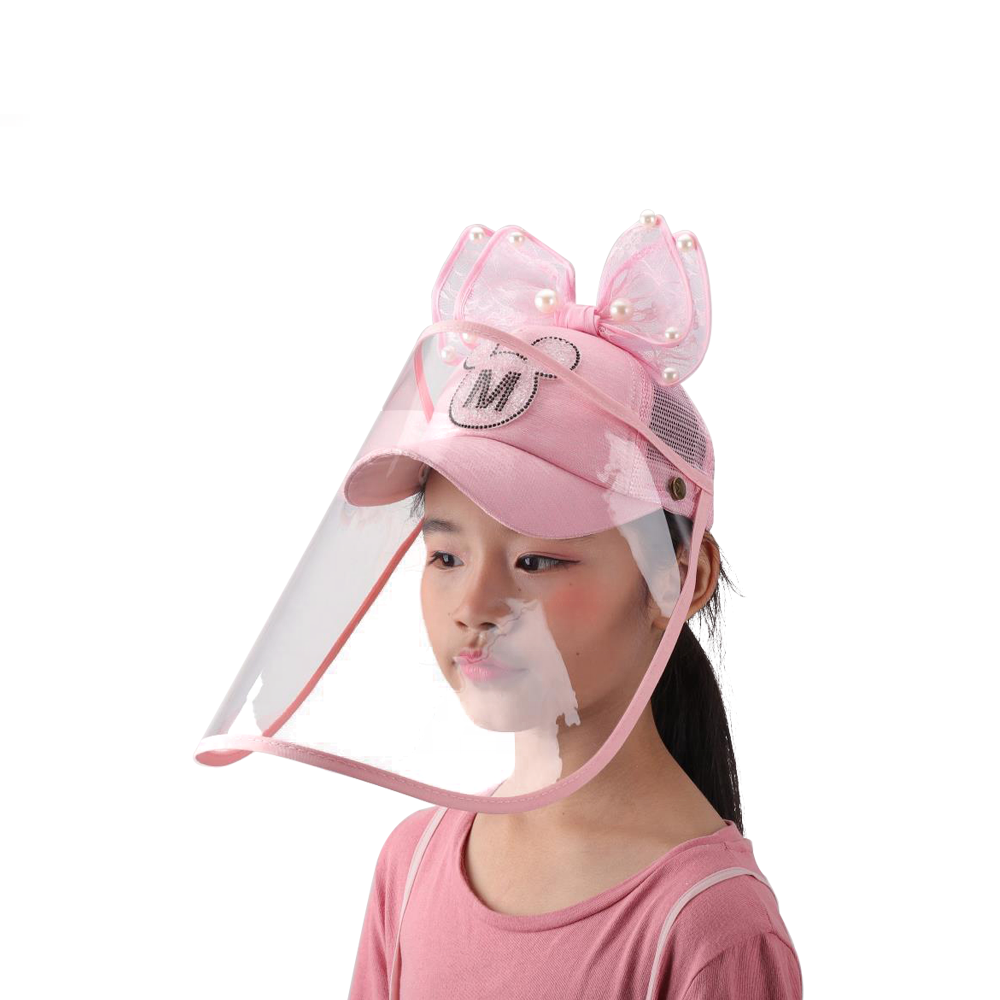 Double Sides Use Embroidery Pink Fashion Facial Face Cover Shield Sun Bucket Hat Cap For Girls