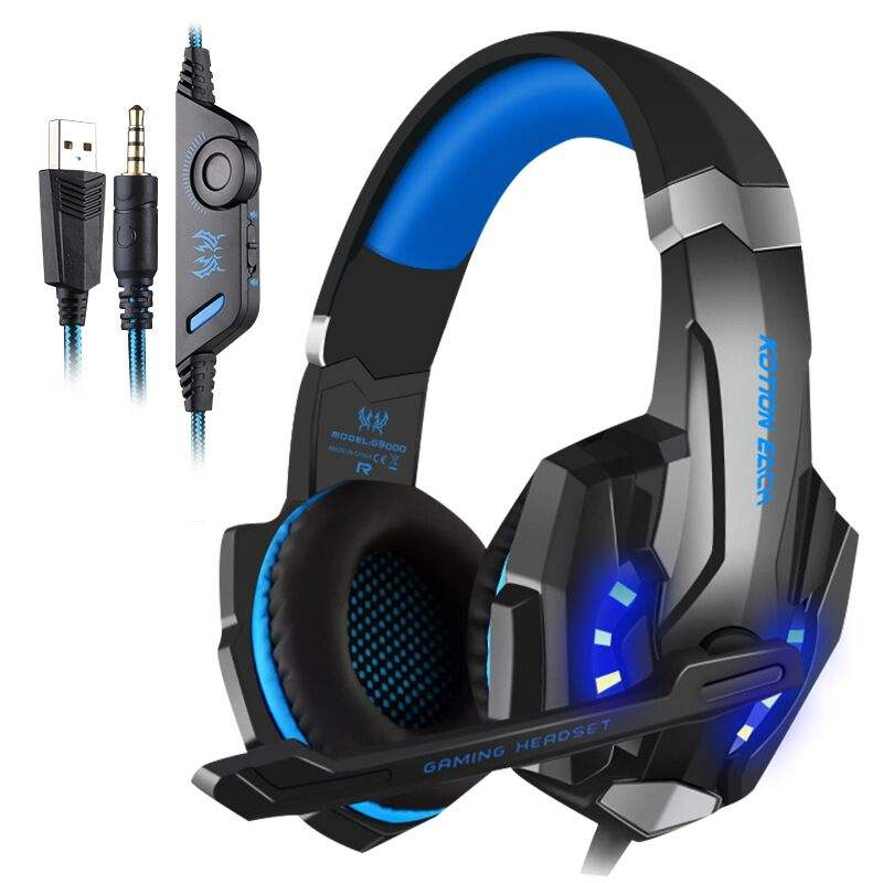 KOTION EACH G9000 3.5mm Game Gaming Headphone Headset Earphone Headband with Microphone LED Light for Laptop Tablet Mobile Phone