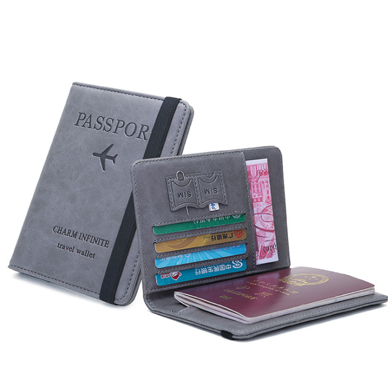 Rfid blocking PU leather passport covers wallet credit card holder with elastic band