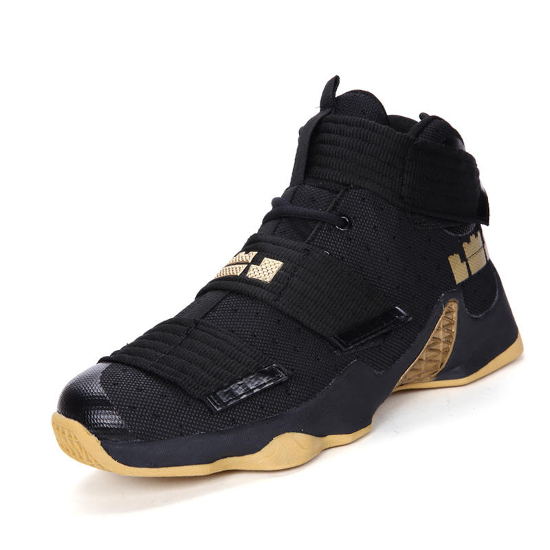 New fashion professional high top black-gold men basketball shoes