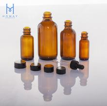 Hot Selling 0.5oz 1oz 2oz 4oz 8oz 16oz 32oz Clear Amber Blue Boston Round Essential Oil Glass  Bottle  G.P.I Finish