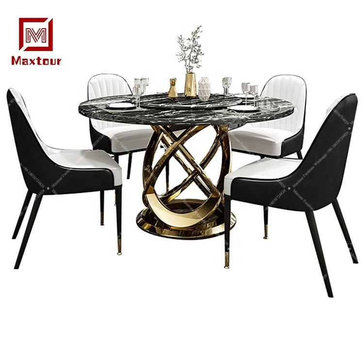 Luxury stainless steel table metal base round marble table tops dining table set with rotating centre