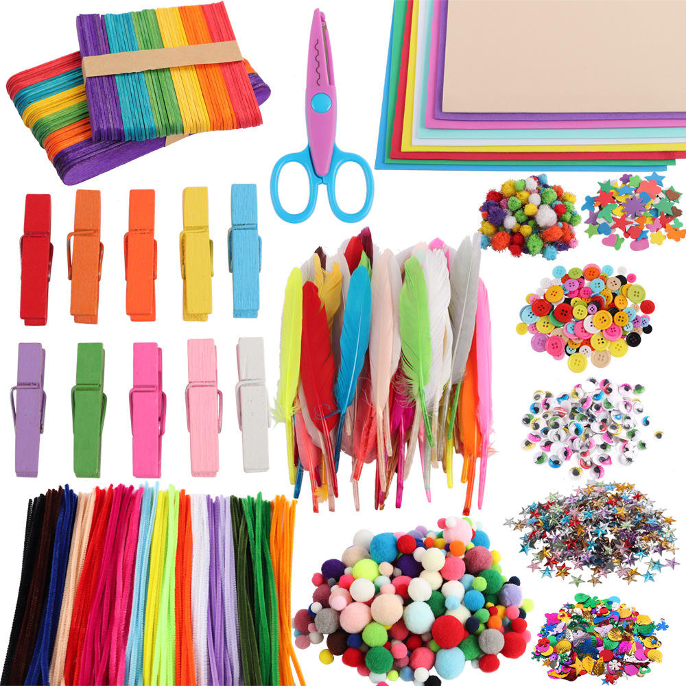 Toddlers toys customized kids diy arts and crafts set include pipe cleaners felt sheet pompoms crystal diamond sticker