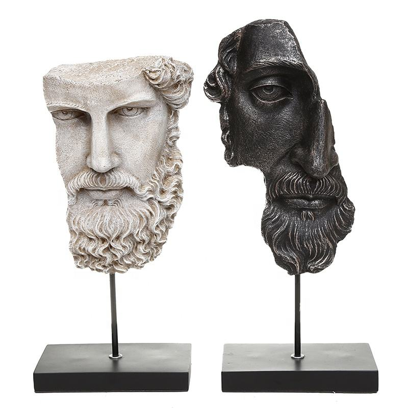 Handmade resin polyresin half face figure statues for indoor table decoration