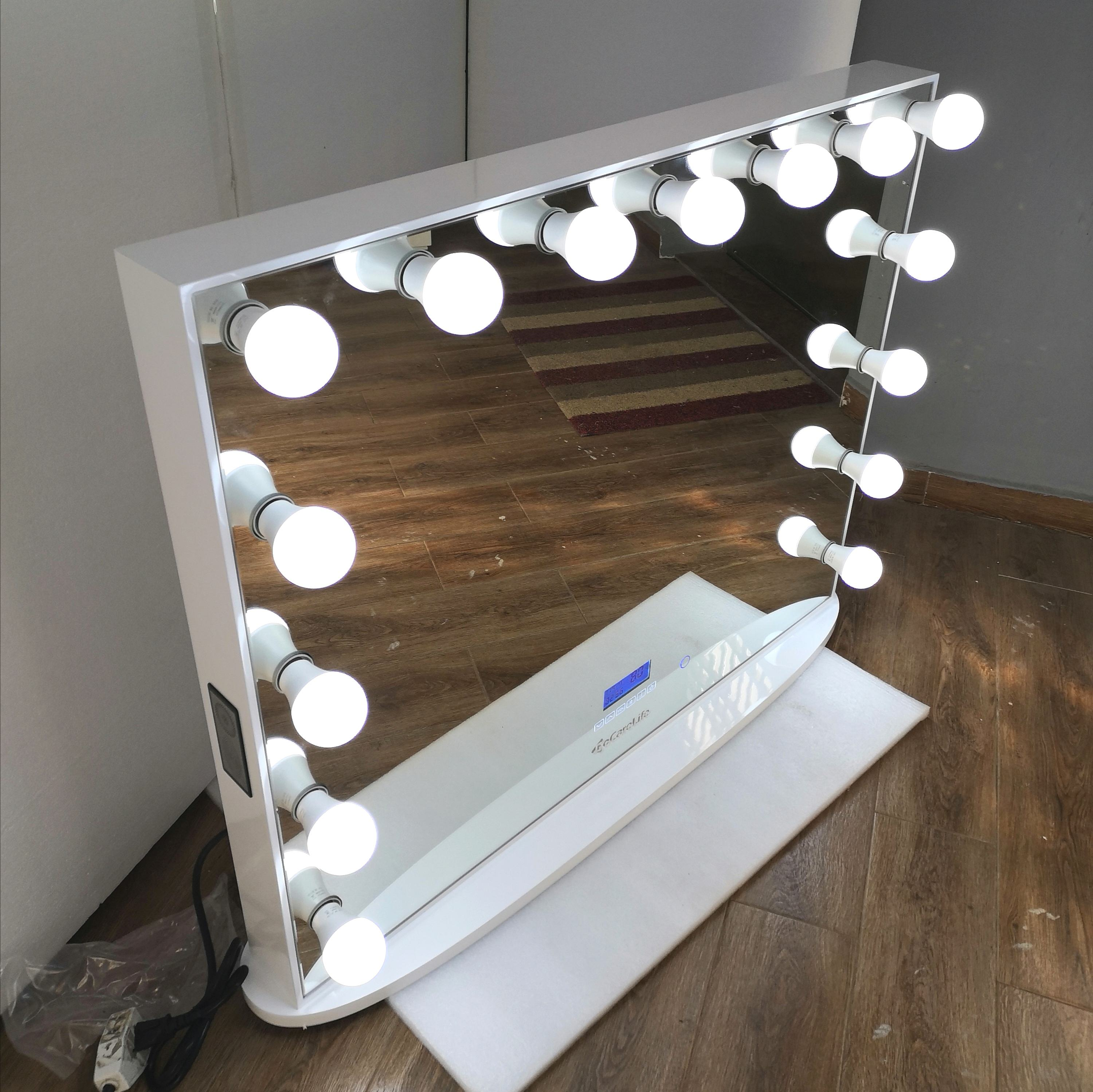 Docarelife Vanity Hollywood Lighted Mirror Bluetooth Desktop Beauty Makeup Mirror with Led Bulb