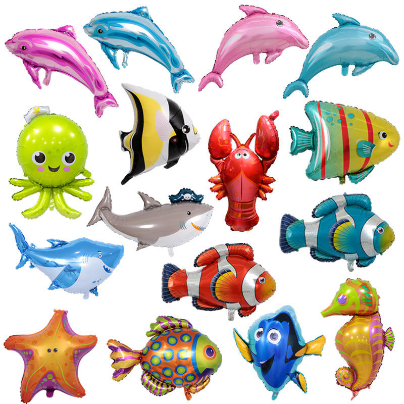 great white shark octopus hippocampus tropical fish foil balloon