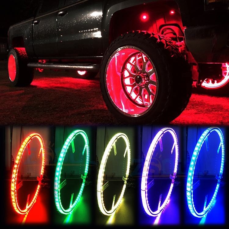"15.5 ""Waterdicht 576 LEDs RGB LED Verlichte Wiel Ring 288 LEDs <span class=keywords><strong>Underbody</strong></span> Lights Kit Met Rem En Richtingaanwijzer licht Voor Auto"