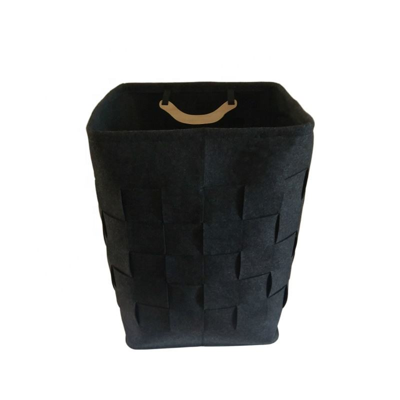 S0018 Large Capacity Foldable Felt Laundry Basket Felt Dirty Cloth Organizer Bag Matching With Wool Dry Balls