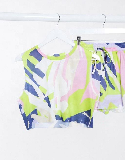 Beach Tank Co-ord in Neon Abstract Sublimation Printed High Quality Short and Shirt Sexy Women Yoga Wear Fitness Sets FSW-7882